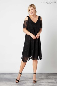 Live Unlimited Black Frill Overlayer Burnout Dress