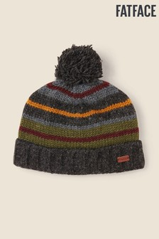 FatFace Yellow All Over Stripe Beanie