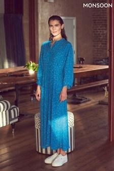 Monsoon Blue Floral Print Midi Dress