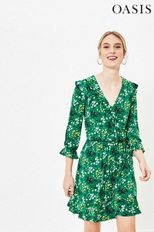 Oasis Tall Green Ditsy Ruffle Wrap Dress