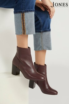 Jones Bootmaker Burgundy Neptune Leather Heeled Ladies Ankle Boots