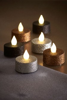 Set of 6 Glitter Halloween LED Tealights