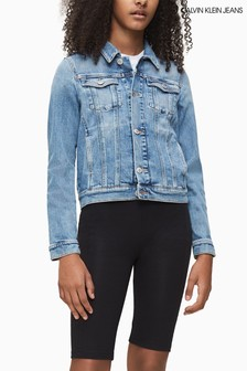 Calvin Klein Blue Monogram Denim Trucker Jacket