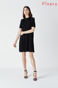 Finery Black Riley Gather Neck And Sleeve Dress
