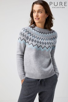 Pure Collection Grey Fairisle Pattern Yoke Sweater