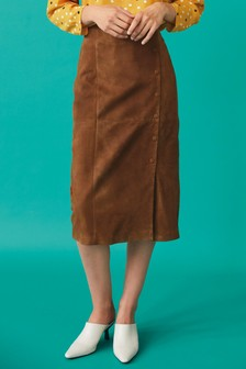 Suede Button Pencil Skirt