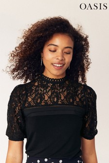 Oasis Black Lace Insert Pintuck Top
