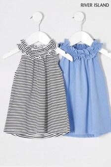 River Island Blue Stripe Trapeze Dress
