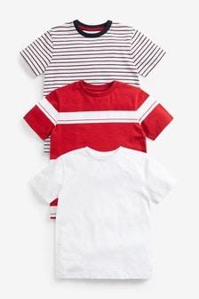 3 Pack Stripe Short Sleeve T-Shirts (3-16yrs)