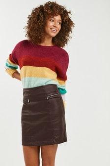 Coated Denim Zip Mini Skirt