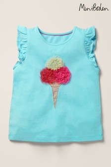 Boden Blue Flutter Tulle Appliqué Top
