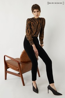 Warehouse Black Velvet Slim Leg Trousers