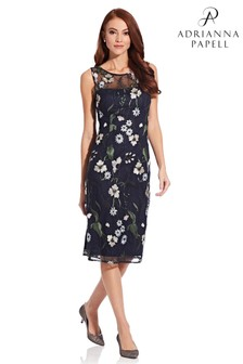 Adrianna Papell Blue Pastel Paradise Embroidered Sheath Dress