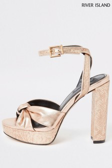 River Island Gold Bossy Knot Front Platform Sandals