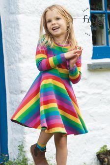 Frugi Pink Organic Cotton Rainbow Full Skirt Skater Dress