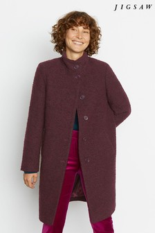 Jigsaw Purple Raw Edge Funnel Neck Coat
