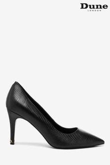 Dune London Wf Anna Black Synthetic Croc-Effect Court Shoes