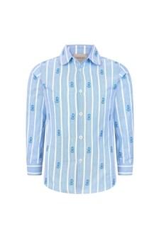 GUCCI Kids Boys Blue Cotton Shirt