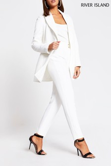 River Island White Cigarette Dart Trousers