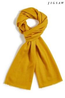 Jigsaw Yellow Wool Silk Pashmina Scarf