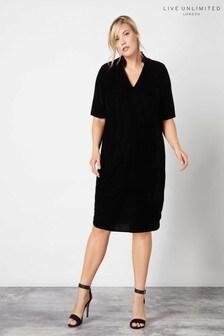 Live Unlimited Black Velvet Cocoon Dress