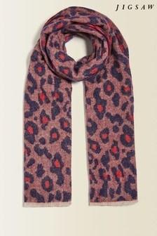 Jigsaw Purple Leopard Wool Jacquard Scarf