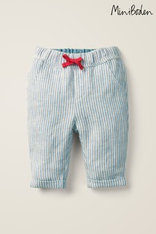 Boden Blue Summer Striped Trousers
