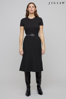 Jigsaw Black Modern Crepe Fluted Skirt