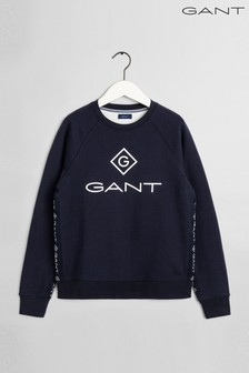 GANT Blue Lock Up Stripe Crew Neck Sweat Top