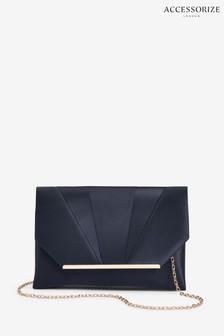 Accessorize Blue Louise Satin Clutch Bag