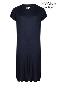 Evans Navy Blue Viscose Long Night Dress