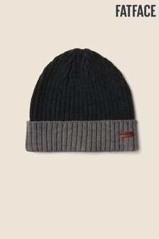 FatFace Grey Colourblock Turn-Up Beanie