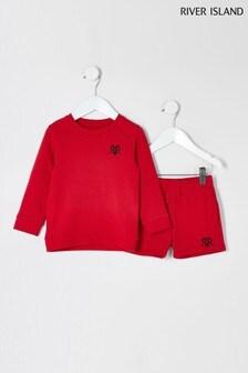 River Island Red Mini Boy Sweat And Short Set