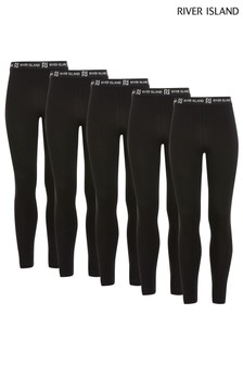River Island Black Leggings Five Pack