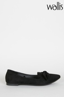Wallis Black Betsy Bow Detail Point Shoes