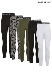 River Island Black Mixed Leggings Five Pack