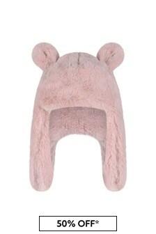 UGG Girls Light Pink Faux Fur Hat