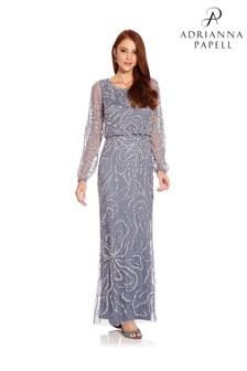 Adrianna Papell Blue Ed Blouson Gown