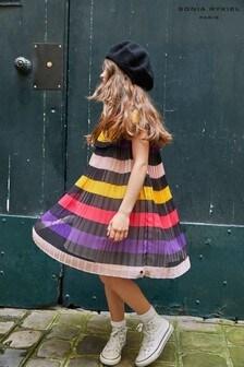 Sonia Rykiel Paris Black Multi Striped Pleated Dress