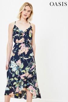 Oasis Blue Blossom Print Frill Dress