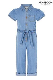 Monsoon Blue Denim Puff Sleeve Jumpsuit