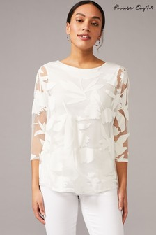 Phase Eight Cream Carina Tropical Floral Burnout Top
