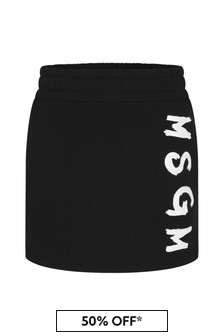 Girls Black Cotton Logo Skirt