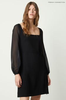 French Connection Black Addinalla Crepe Square Neck Dress