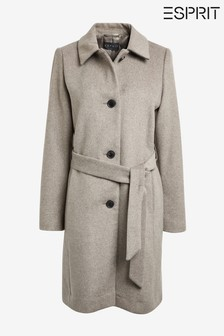 Esprit Natural Checked Coat With Belt