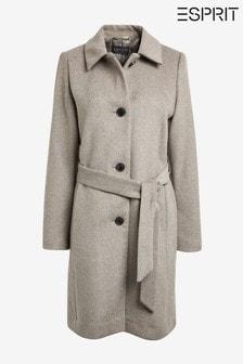 מעיל משובץ עם חגורה בצבע טבעי של Espirit