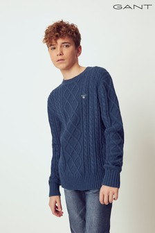 GANT Blue Elevated Cable Crew Sweater