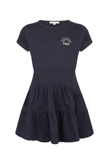 Chloe Kids Girls Navy Cotton Dress