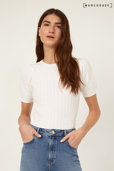 Warehouse Cream Stitched Puff Sleeve Top