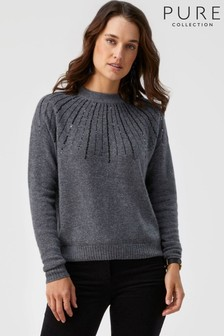 Pure Collection Grey Gassato Sequin Yoke Sweater